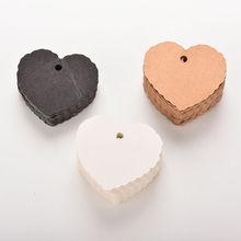 100 Pcs/lot Heart shape Kraft Paper Hang Tags Wedding Party Favor Label Price Gift Card 5.8cm x 5.5cm