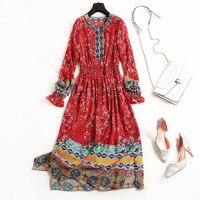 Винтаж печати чешские 100% шелковое платье новый 2018 платье на весну и лето Длинные рукава красные женские Марка взлетно посадочной полосы лин