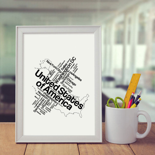 Black USA Map Art Print Pictures Painting City Home Decor Wall Living Room