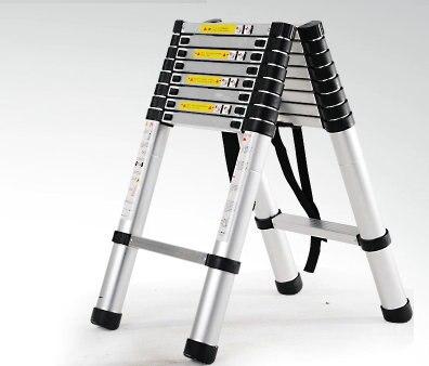 2.9m Retractable Folding Aluminum Herringbone Ladder, Multi-purpose Home/library/engineering Ladder