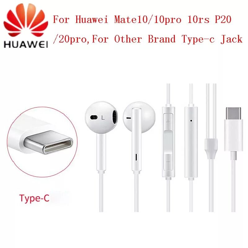 <font><b>HUAWEI</b></font> Original CM33 Kopfhörer USB Typ-C In Ohr Hearphone Headset Mic Volumen <font><b>HUAWEI</b></font> Mate 10pro 20 X RS <font><b>p20</b></font> Pro Note 10 image