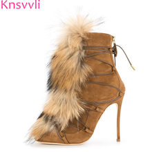 41abc41d360 Knsvvli Faux Fur Winter Boots Woman Black Brown Suede thin High heels Ankle  Boots Fashion Party