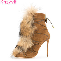 Knsvvli Faux Fur Winter Boots Woman Black Brown Suede thin High heels Ankle Boots Fashion Party Show short Booties zapatos mujer
