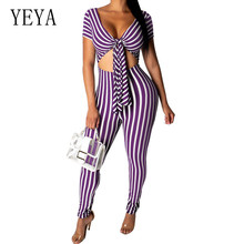 YEYA Women Jumpsuits Rompers Fashion Dynamic Striped Playsuits Sexy V Neck Short Sleeve Casual Bodycon Bandage Black Overalls