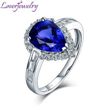 Elegant Pear Tanzanite Luxury Diamond Anniversary Ring Real 14Kt White Gold for Wife Mom Birthday Fine Jewelry Christmas Gift