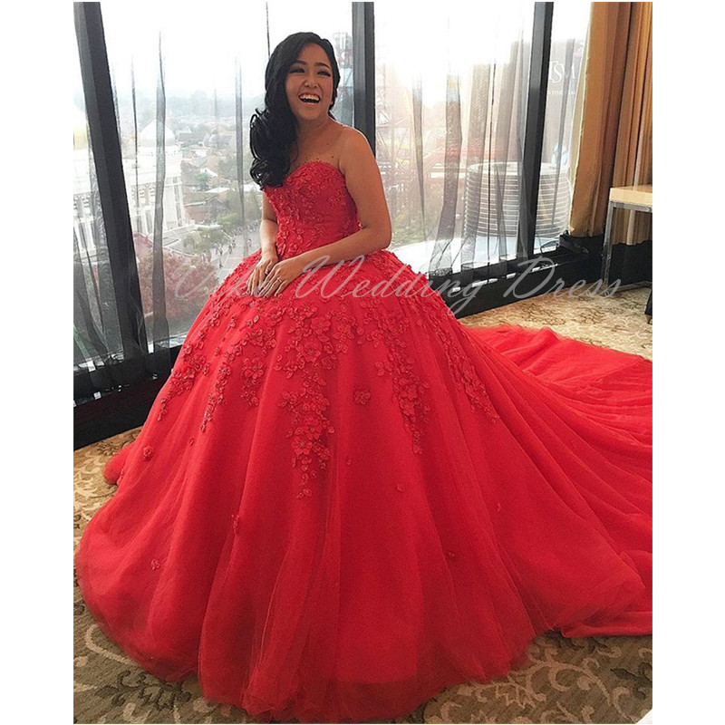 Red Ball Gown Wedding Dresses: Unique Red Ball Gown Wedding Dress Turkey Strapless Puffy