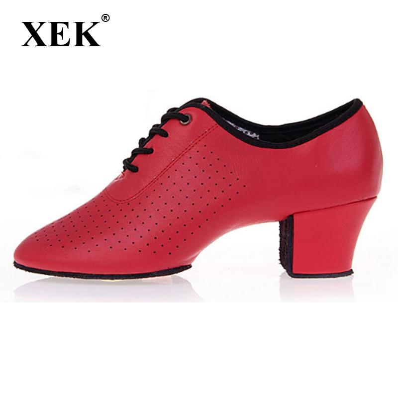XEK Middle Heel Women's Tango Flamenco Dance Shoes Girls Waltz Tango Foxtrot Quick Step Dance Shoes GSS112 ladies latin dance shoes closed toe middle heel ladies ballroom dancing shoe waltz viennese waltz tango foxtrot shoes 5 5cm heel