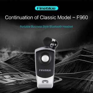 Fineblue F960 Wireless Bluetooth clip-on telescopic type business Earphone Vibration Alert Stereo Sport earphone noise canceling