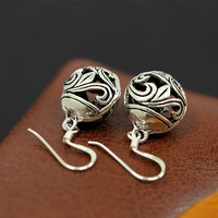 The Character Of Silver Products Thailand Pure Handmade Hollow Retro Earrings Sterling Silver Jewelry Lady S925
