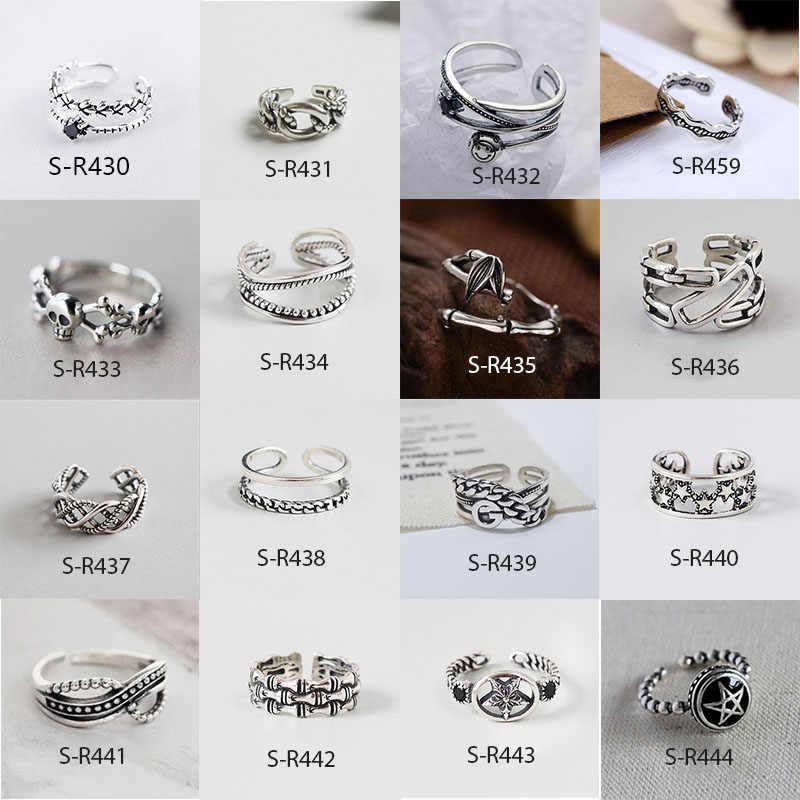 Anenjery Vintage Nữ Bạc 925 Nhẫn Handmade Size 18 Mm Có Thể Điều Chỉnh Dành Cho Nam Nữ Bạc Thái S-R430