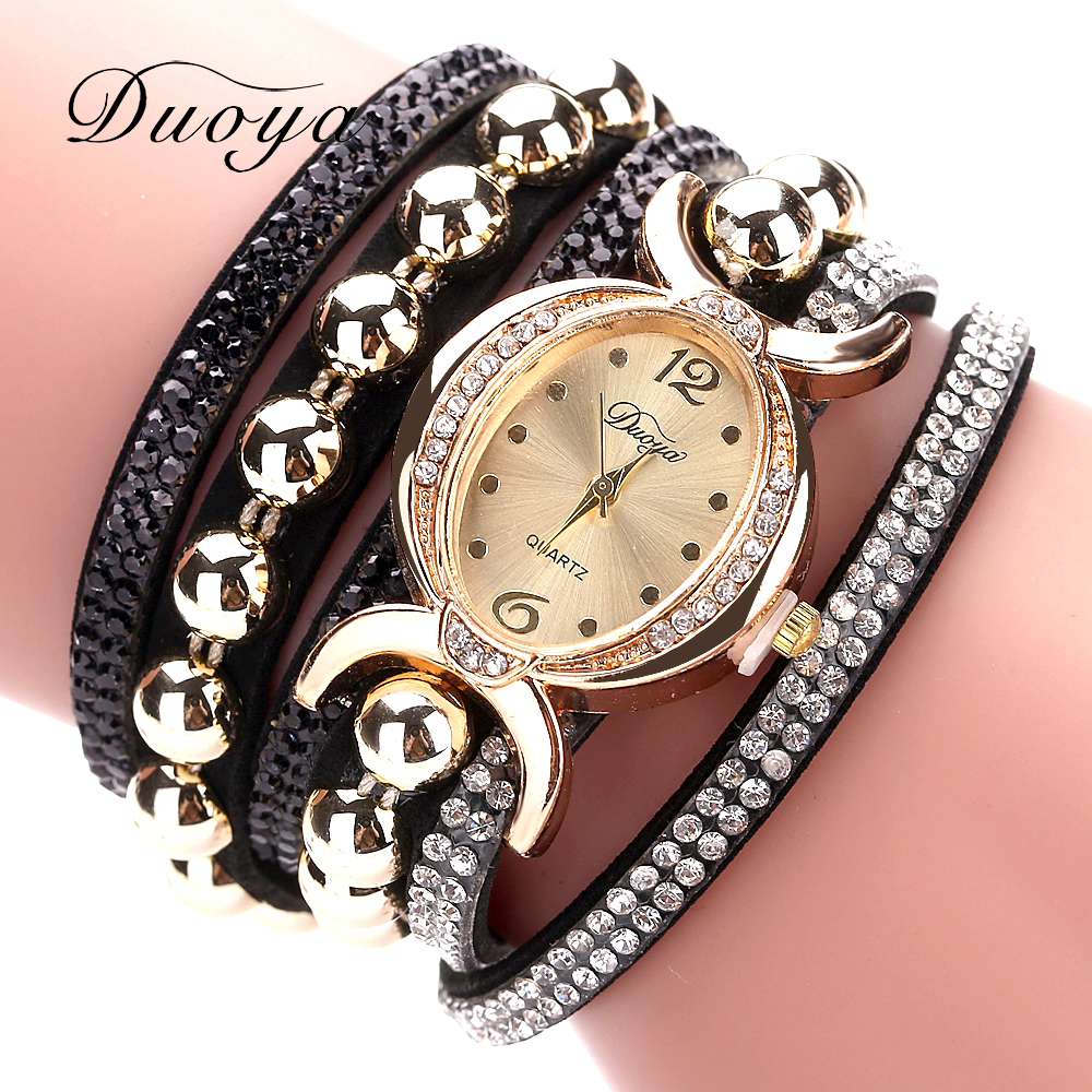 Duoya Luxury Brand Women Gold Fashion Rhinestone Leather Wristwatch Ladies Dress Quartz-Watches Casual Sport Electronic Clock