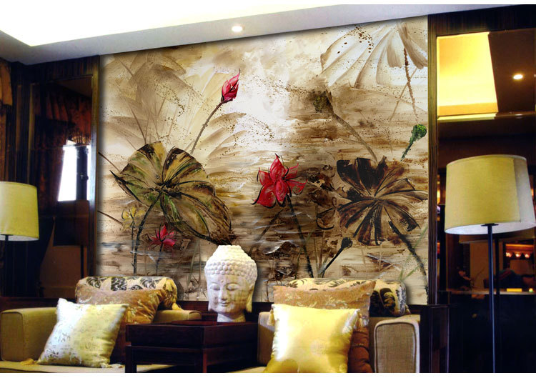 2013Living room sofa background of Chinese lotus wallpaper