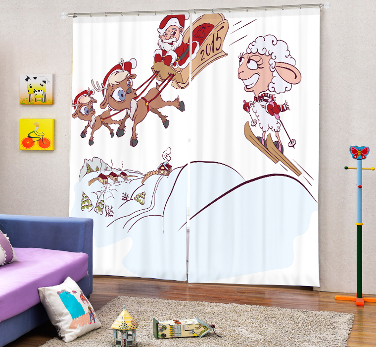 Christmas Santa Claus And Deers 3D Painting Blackout Curtains Office Bedding Room Living Room Sunshade Window Custom made Size - 5