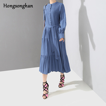 Hongsonghan 2019 England style dresses new womens loose dress strappy lace up draped stand-up collar layering tide