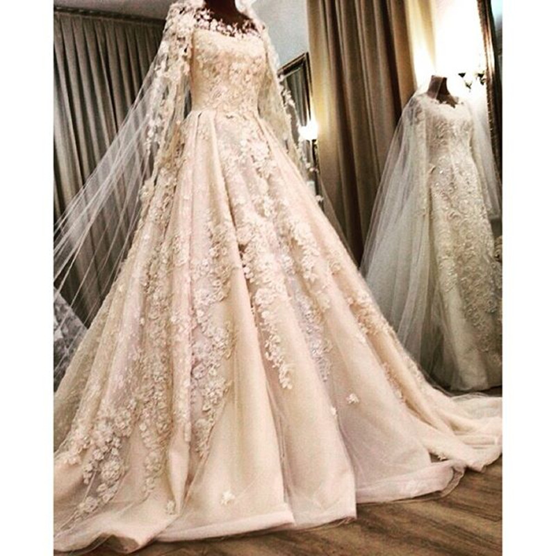 Luxury long sleeve 2016 sexy white beaded appliques lace for Beaded a line wedding dress