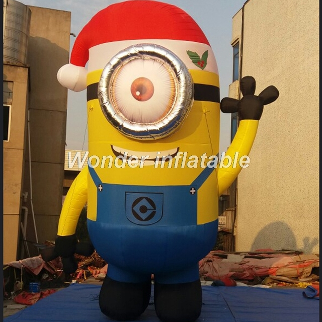 outdoor airblow giant single eye inflatable christmas minion with santa hat for decoration - Minion Outdoor Christmas Decorations