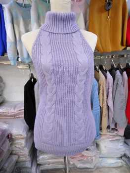 Fine Guage Wide Needle Virgin Killer Sweater Backless Sweater Women Long Turtleneck Pullover Open Back Vest Knitted Cosplay