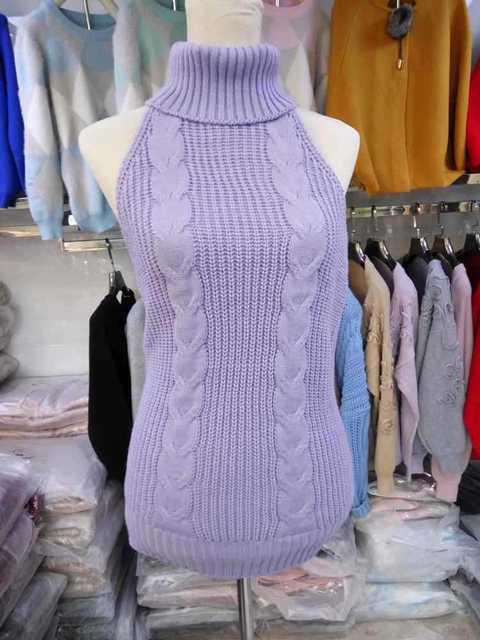 Fine Guage Wide Needle Virgin Killer Sweater Backless Sweater Women Long Turtleneck Pullover Open Back Vest Knitted Cosplay