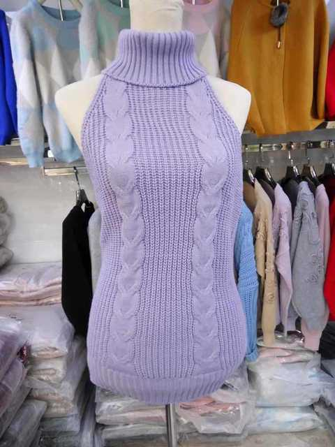 Tốt Gauge Rộng Kim Trinh Nữ Killer Áo Len Backless Áo Len Phụ Nữ Dài Cao Cổ Áo Thun Mở Lại Vest Dệt Kim Cosplay