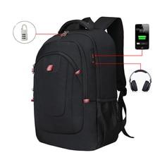Men Backpacks Knapsack Male Large capacity USB headphone coded anti-theft Pack Travel School bags 17.3 inch laptop Commuting