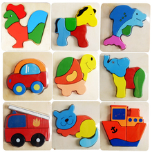 3D Wooden Animals Assemblage Blocks Toy for Baby Kids Educational Learning Development Cartoon Jigsaw Picture Make