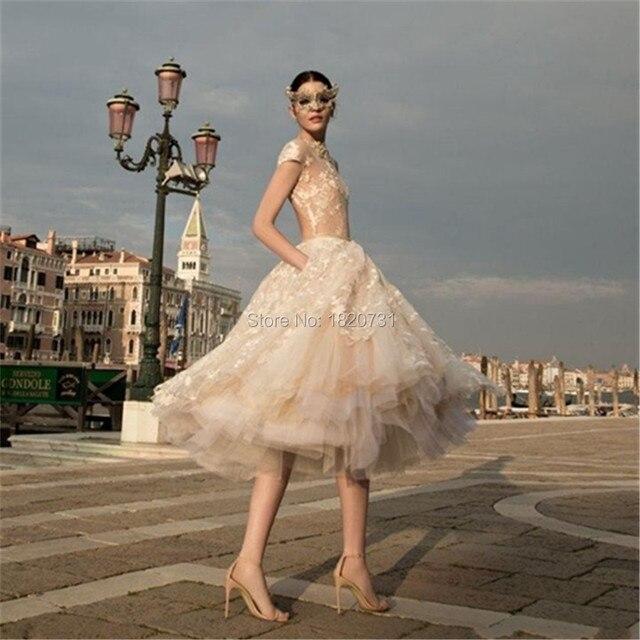 2017 Vintage Champagne Wedding Dresses Short Sleeve A-Line Lace Backless Tea Length Bridal Gown Vestidos De Noiva