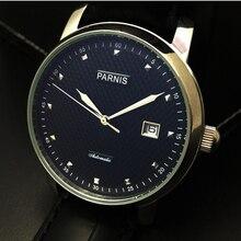 Venta caliente de 43mm Caja de Plata esfera de Color Negro Parnis gaviota 2551 Movimiento Automático Reloj