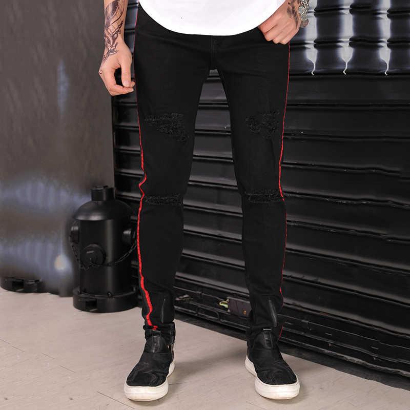 c36c9cc47be ... Gersri Men Jeans All-match Trendy Hip Hop Jeans Men Leisure Side Red  Stripe Holes ...