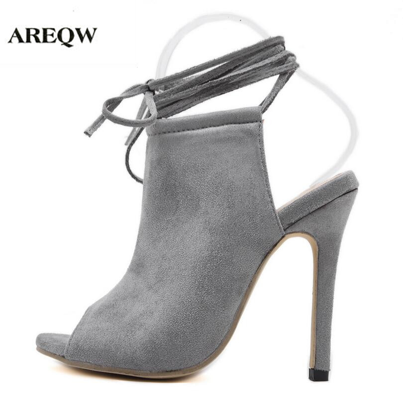 AREQW summer fish mouth thin heel solid color high-heeled sandals women fashion lace tie T station show shoes women high heels women sandals 2017 summer gauze high heeled shoes lace fish mouth women sandals fashion summer ankle boots s069