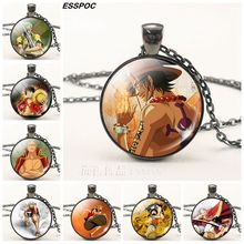 One Piece Anime Glass Pendant Cabochon Necklace
