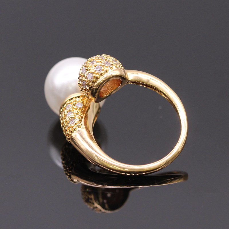 GZJY Cantik Warna Champagne Emas Dibuat Mutiara Putih Zircon Wedding - Perhiasan fashion - Foto 3