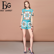 Baogarret 2019 Fashion Runway Summer Suits Women's Floral Print Short Sleeve T-shirt And High Waist Shorts Two Pieces Set цена