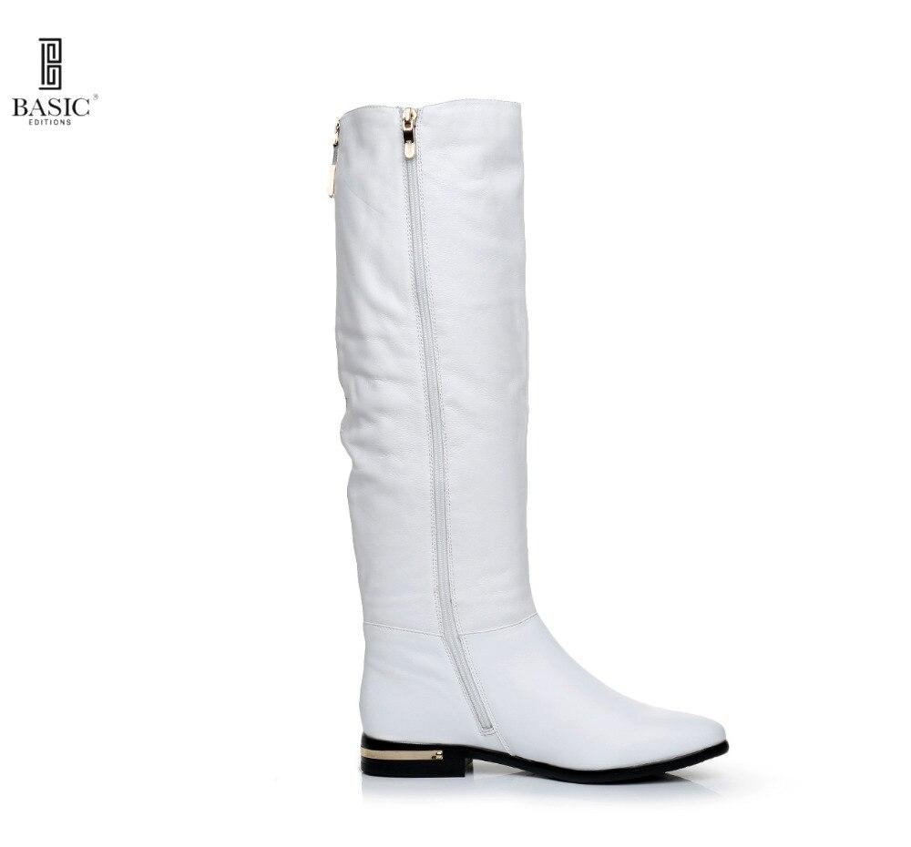 ФОТО BASIC 2016 Winter White Genuine Leather Round Toe Low Heel Zip Up Fashion Boots - 4716B-07-CME