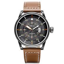 Мужские часы, кварцевые мужские спортивные часы с Т-образным календарем, военный коричневый кожаный ремешок 3ATM, водонепроницаемые, подарки для папы