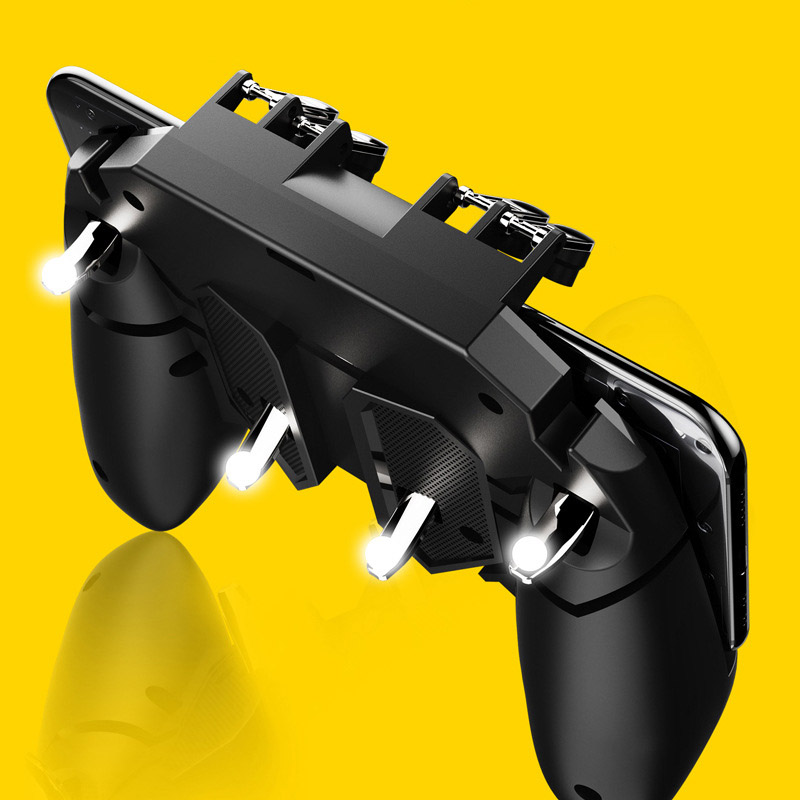 AK66 Six Finger All in One Pubg Mobile Controller Gamepad Pubg Mobile Trigger L1R1 Shooter Joystick Game Pad For IOS Android in Gamepads from Consumer Electronics
