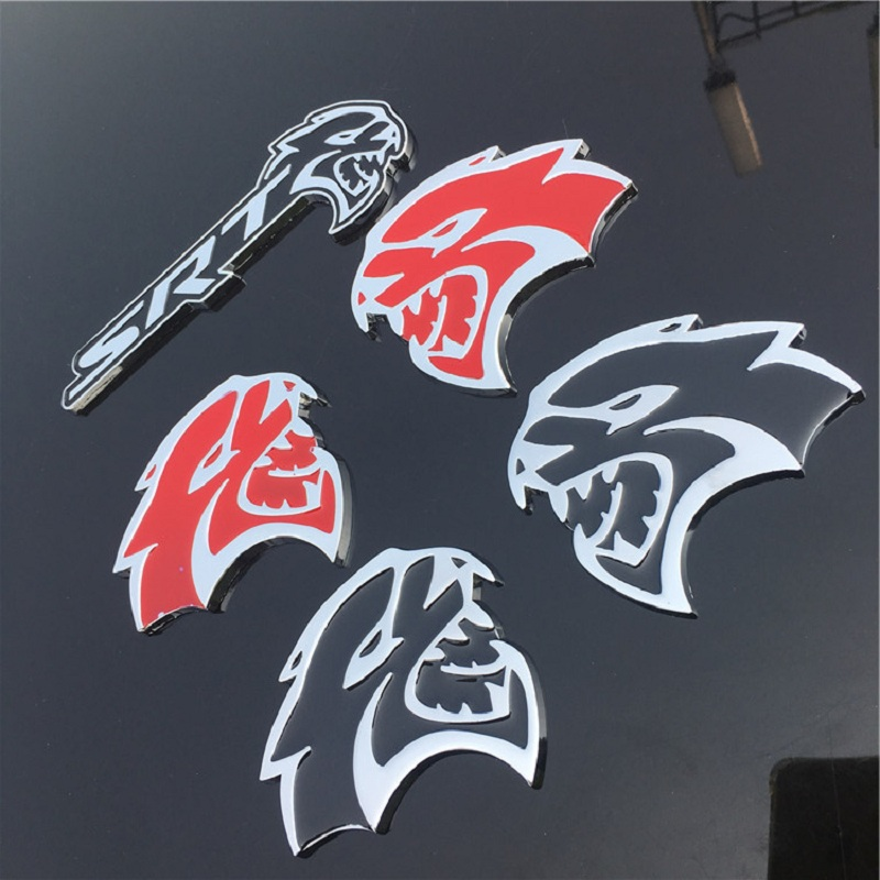 2pcs Red HELLCAT Emblem L//R Badge Sticker Metal Dodge Challenger Charger SRT