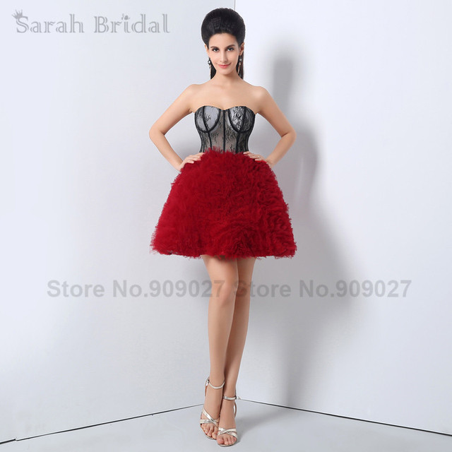 New Real Photo Short Homecoming Dresses Sweetheart 2015 Mini Red+ ...