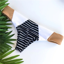 Free Shipping Women Bikini Low Waisted Top Bandeau Stripe Gold