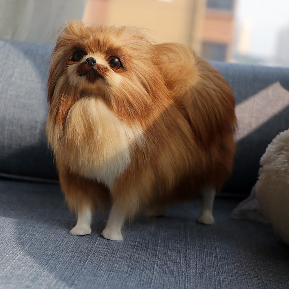 Simulated Cute Pomeranian Dog Photography Props Desktop Car Home Decor Toy Collection Toys Gift   For Children