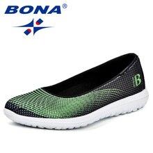BONA 2018 yeni kadın rahat spor Flats moda ayakkabılar anne yürüyüş mokasen Ultra hafif Feminimo nefes hava Mesh spor ayakkabı