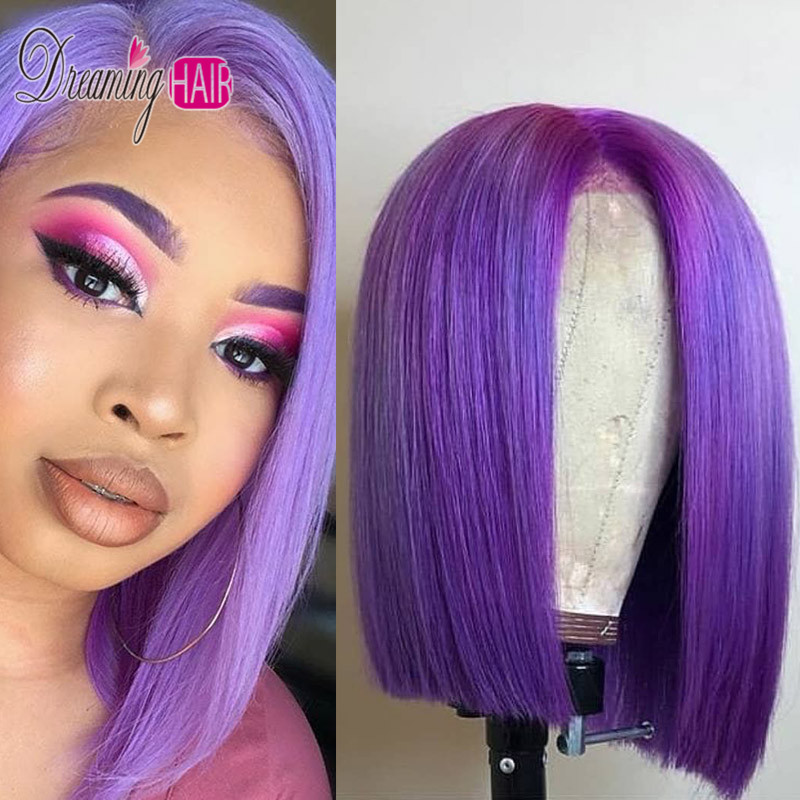 HTB1GSyKboY1gK0jSZFMq6yWcVXaU 13x6 Blue Bob Lace Front Human Hair Wigs Pre Plucked 613 Honey Blonde Purple Green Burgundy Yellow Ombre Colored Human Hair Wigs