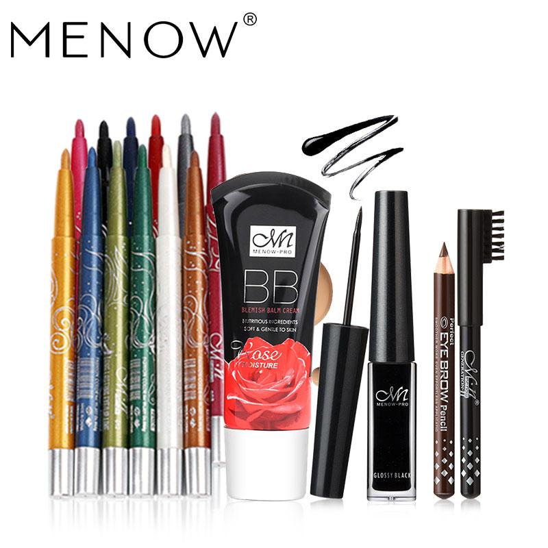 MENOW Brand Make up set 12Color/Set Waterproof Eyeliner Pencil &Liquid Eyeliner gift two pencil &Rose Foundation drop ship 5363