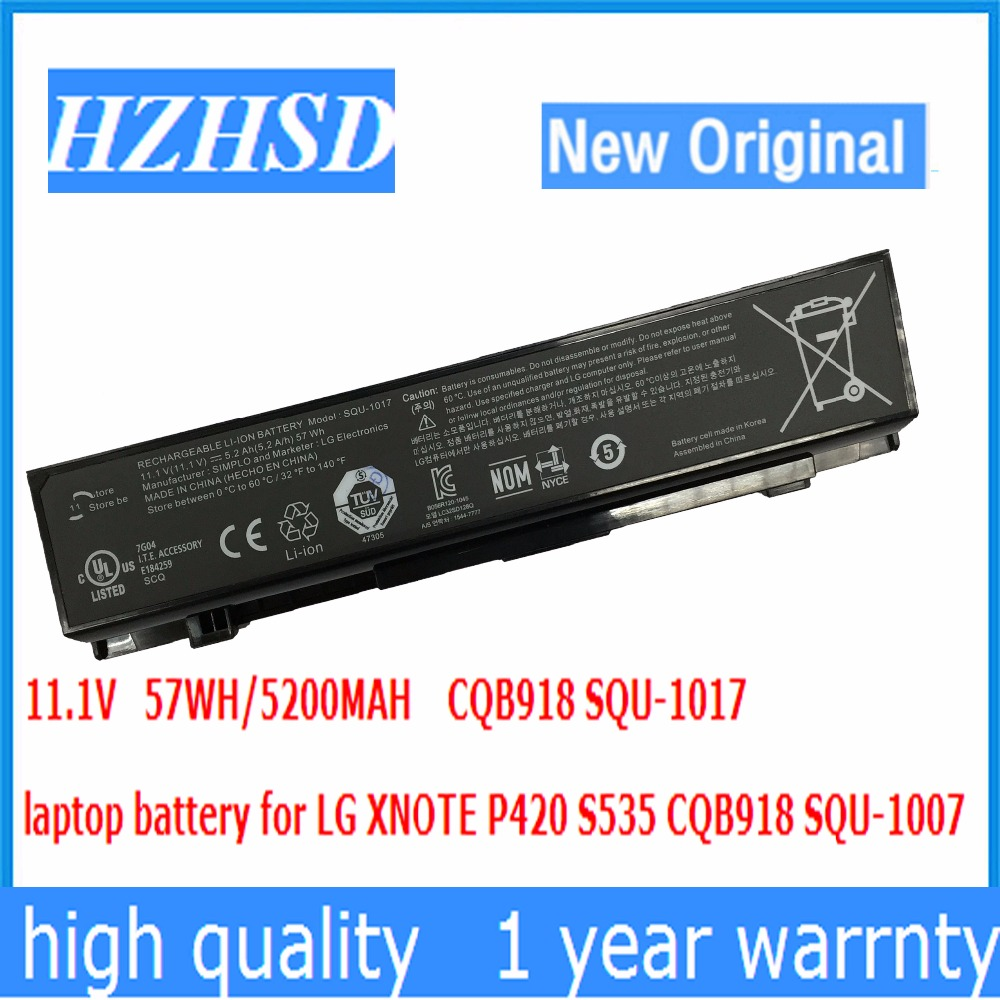 11.1V 57Wh New Original CQB918 Laptop Battery for E217462 Battery Laptop SQU-1017 S430 S530 P420 S425 S525 S535 PD420