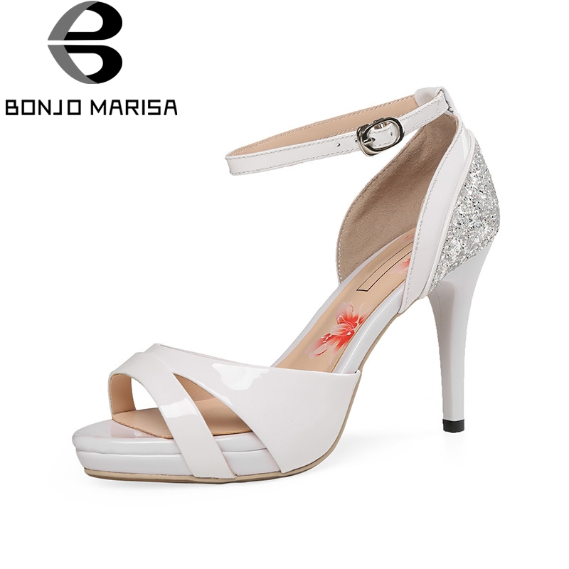 BONJOMARISA 2018 Summer Fashion Glitters Women Sandals Cow Leather High Heels Shoes Woman Cool Lady Platform Shoes Size 34-39 phyanic wedges gladiator sandals 2017 new bling glitters high heels summer platform shoes woman casual creepers xdy8006