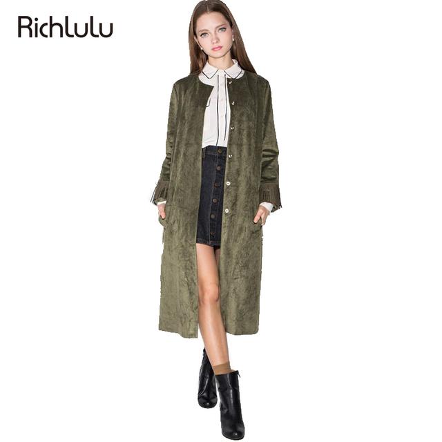 RichLuLu Exército Verde Trench Coat Roupas Femininas Borlas Sólidos O Pescoço Longo Da Luva Da Forma Outwear Único Breasted Bolsos do Casaco Fino