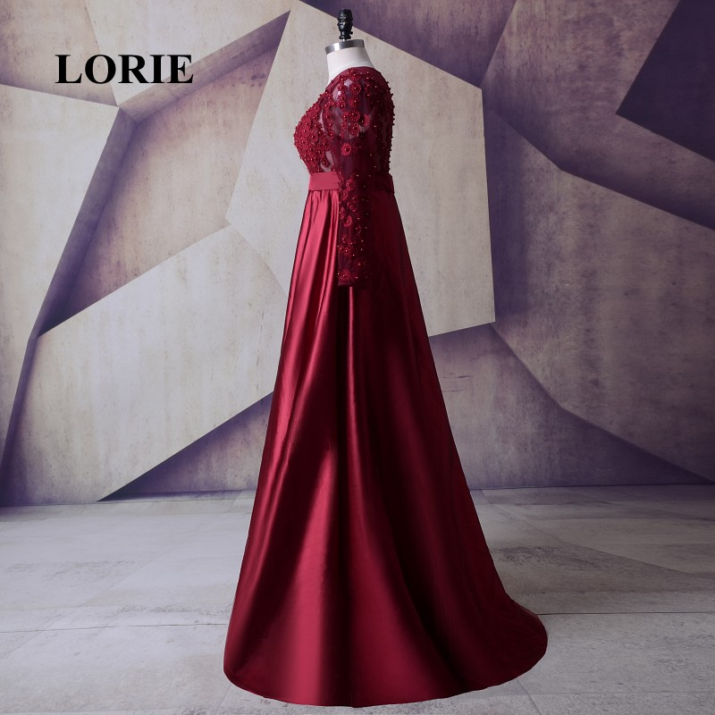 98b73ec1306a8 LORIE Satin Long Sleeve Plus Size Mother of the bride dress Burgundy Prom  Dress Womens Evening Gowns Long Dresses for Weddings