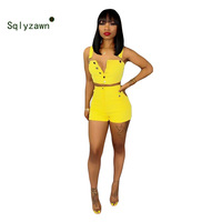 Women Sexy Summer Maxi Yellow Blue Denim Two Piece Sets Streetwear Button Crop Tops with Jeans Shorts Outfits Bodycon Plus Size