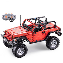 CADA Control remoto Jeep Wrangler coche técnico aventurero bloques de construcción juego de ladrillos niños juguetes educativos cumpleaños regalos
