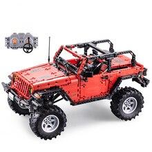 CADA Controle Remoto Jeep Wrangler Carro Técnica Aventureiro de Construção Blocos Tijolos Definir Crianças Meninos Brinquedos Educativos Presentes de Aniversários