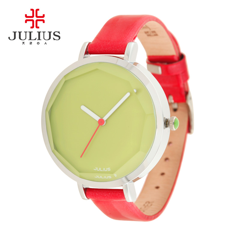 JULIUS New Chinese Women Watches Female Red Leather Fashion Wristwatches Ladies Clock Relojes Mujer Thin Wrist Watch Luxury 2017